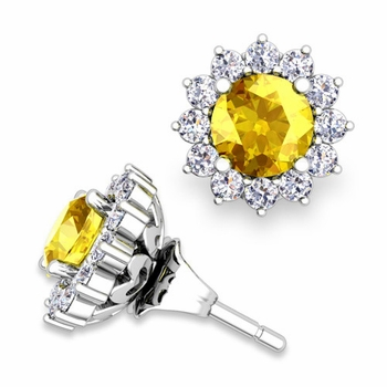 Halo Diamond Earring Jackets and Yellow Sapphire Studs in 14k Gold, 5mm