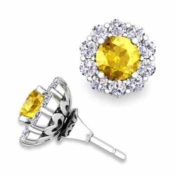 Yellow Sapphire Studs and Halo Diamond Earring Jackets in 14k Gold, 5mm