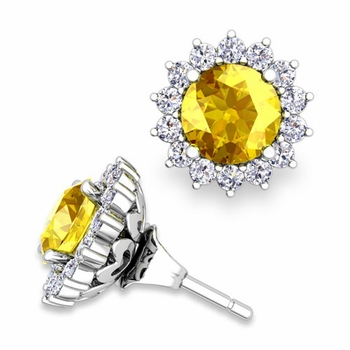 Halo Diamond Earring Jackets and Yellow Sapphire Studs in 14k Gold, 6mm