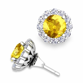 Yellow Sapphire Studs and Halo Diamond Earring Jackets in 14k Gold, 6mm