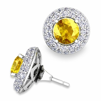 Pave Diamond Earring Jackets and Yellow Sapphire Studs in 14k Gold, 6mm