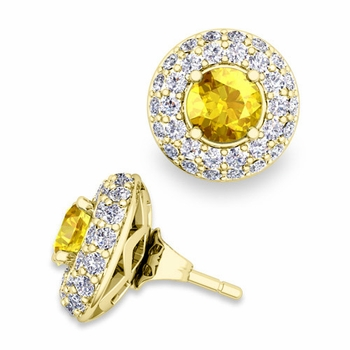 Pave Diamond Earring Jackets and Yellow Sapphire Studs in 18k Gold, 5mm