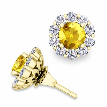 Yellow Sapphire Studs and Halo Diamond Earring Jackets in 18k Gold, 5mm