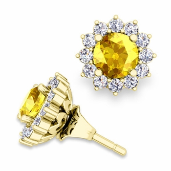 Halo Diamond Earring Jackets and Yellow Sapphire Studs in 18k Gold, 5mm