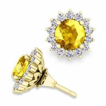 Halo Diamond Earring Jackets and Yellow Sapphire Studs in 18k Gold, 6mm