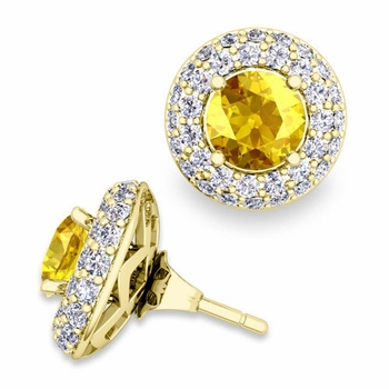 Pave Diamond Earring Jackets and Yellow Sapphire Studs in 18k Gold, 6mm