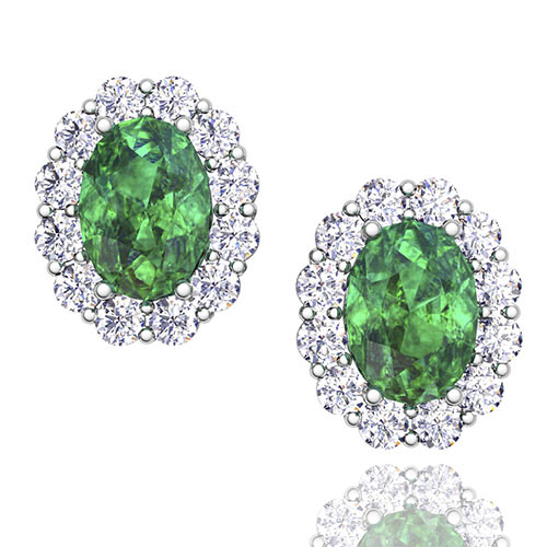 Order Now Ships On Friday 12 28order In 14 Business Days Oval Emerald And Halo Diamond Earrings 14k Gold 7x5mm Studs