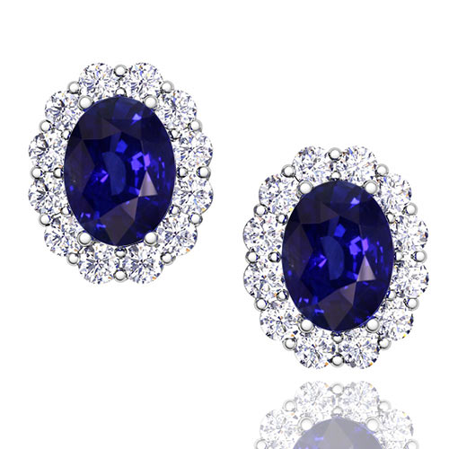 9bb2a138b9c32 Oval Sapphire and Halo Diamond Earrings in 14k Gold, Gem Studs