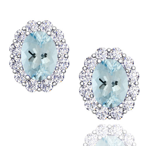 Order Now Ships On Wednesday 1 2order In 14 Business Days Oval Aquamarine And Halo Diamond Earrings 14k Gold