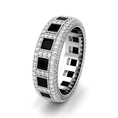 in eternity pave single mwb wedding mens rose band row diamond black gold bands asymmetrical