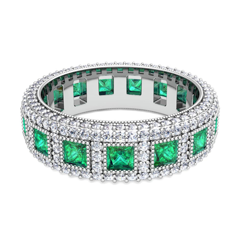 gold eternity princess com dp band amazon emerald bands ring tl cut rose