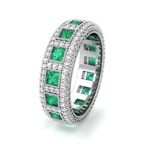 diamond ring bands eternity cut band prong set emerald