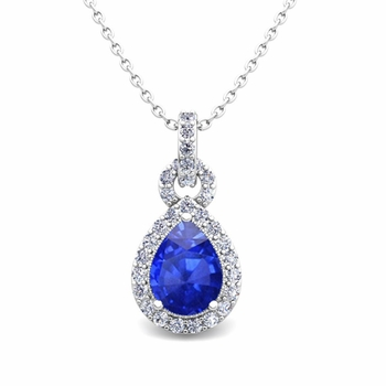 Pear Ceylon Sapphire and Pave Diamond Necklace in 14k Gold Drop Pendant