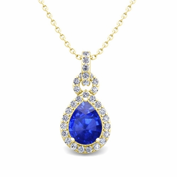 Pear Ceylon Sapphire and Pave Diamond Necklace in 18k Gold Drop Pendant