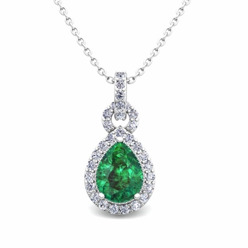 Pear Emerald and Pave Diamond Necklace in 14k Gold Drop Pendant