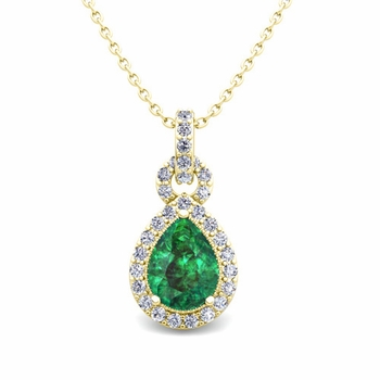Pear Emerald and Pave Diamond Necklace in 18k Gold Drop Pendant