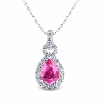 Pear Pink Sapphire and Pave Diamond Necklace in 14k Gold Drop Pendant