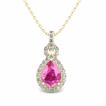 Pear Pink Sapphire and Pave Diamond Necklace in 18k Gold Drop Pendant