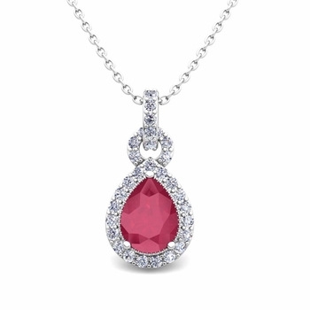 Pear Ruby and Pave Diamond Necklace in 14k Gold Drop Pendant