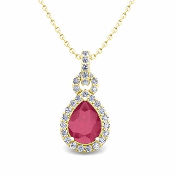 Pear Ruby and Pave Diamond Necklace in 18k Gold Drop Pendant