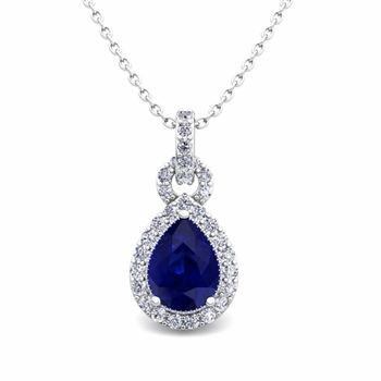 Pear Sapphire and Pave Diamond Necklace in 14k Gold Drop Pendant
