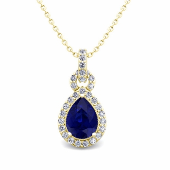 Pear Sapphire and Pave Diamond Necklace in 18k Gold Drop Pendant