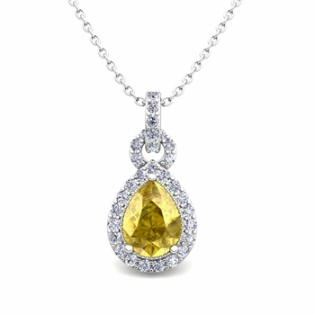 Pear Yellow Sapphire and Pave Diamond Necklace in 14k Gold Drop Pendant