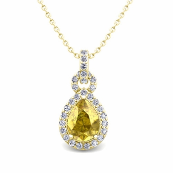 Pear Yellow Sapphire and Pave Diamond Necklace in 18k Gold Drop Pendant