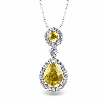 Pear Yellow Sapphire Drop Pendant in 14k Gold Halo Diamond Necklace