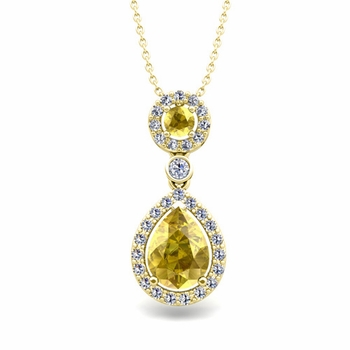 Pear Yellow Sapphire Drop Pendant in 18k Gold Halo Diamond Necklace