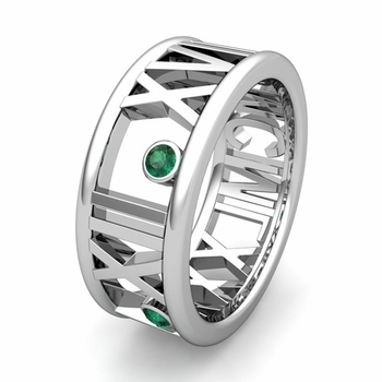 Custom Made 3 Stone Roman Numeral Wedding Ring Band, 9mm