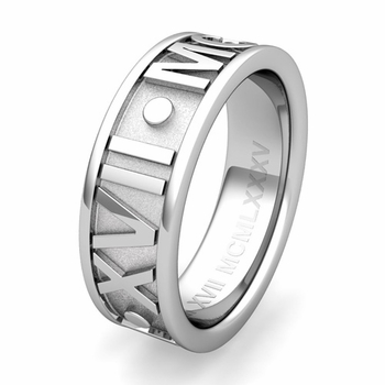 Custom Classic Roman Numeral Wedding Ring Band in Gold or Platinum, 7mm