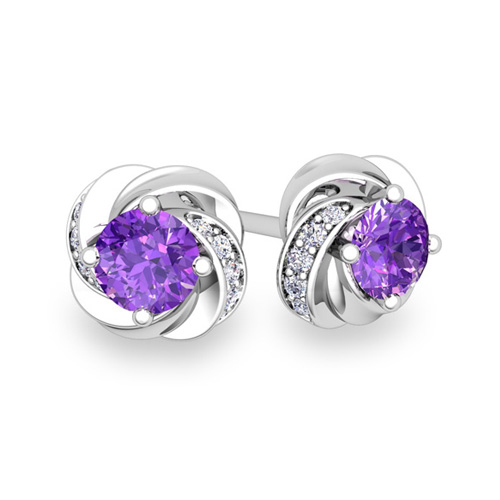 petal diamond and amethyst stud earrings in 14k gold 4x4mm. Black Bedroom Furniture Sets. Home Design Ideas