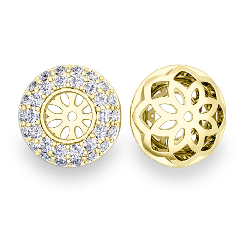 Pave Set Diamond Earring Jackets In 14k Gold 5mm