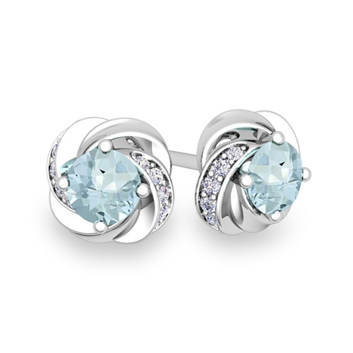 Order Now Ships On Monday 12 17order In 14 Business Days Petal Diamond And Aquamarine Stud Earrings 14k Gold