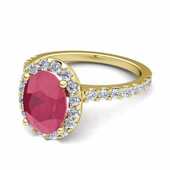 Petite Pave Set Diamond and Ruby Halo Engagement Ring in 18k Gold, 7x5mm