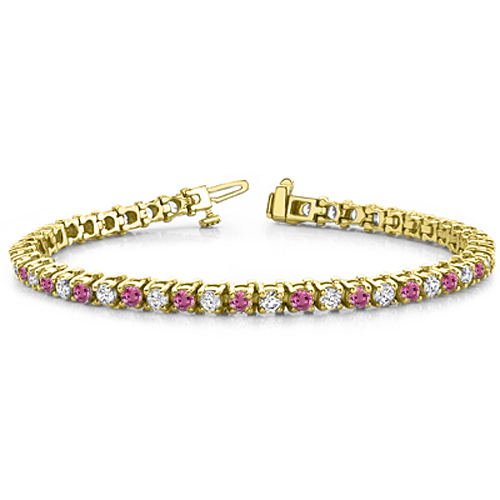 Pink Sapphire And Diamond Bracelet In 14k White Gold