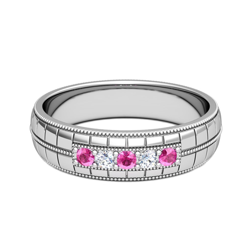 pink sapphire and diamond mens wedding band in platinum 5