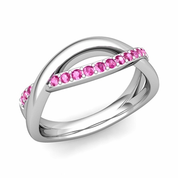 Pink Sapphire Wedding Anniversary Ring in 14k Gold Infinity Wedding Band, 6mm