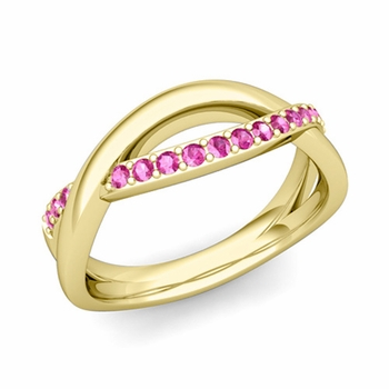 Pink Sapphire Wedding Anniversary Ring in 18k Gold Infinity Wedding Band, 6mm