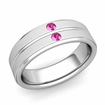 Pink Sapphire Wedding Ring in 14k Gold Brushed Flat Wedding Band, 6.5mm