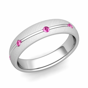 Pink Sapphire Wedding Ring in 14k Gold Brushed Wave Wedding Band, 5mm