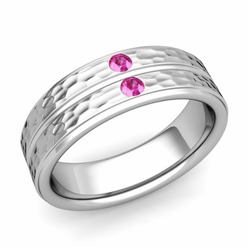 Pink Sapphire Wedding Ring in 14k Gold Hammered Flat Wedding Band, 6.5mm