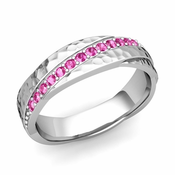 Pink Sapphire Wedding Ring in 14k Gold Hammered Rolling Wedding Band, 6mm