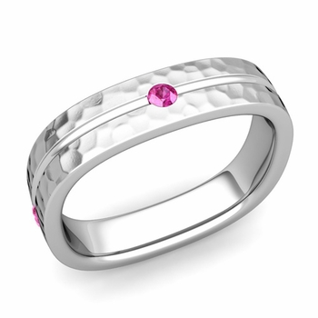Pink Sapphire Wedding Ring in 14k Gold Hammered Square Wedding Band, 5mm