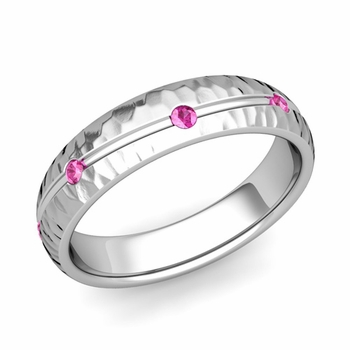 Pink Sapphire Wedding Ring in 14k Gold Hammered Wave Wedding Band, 5mm