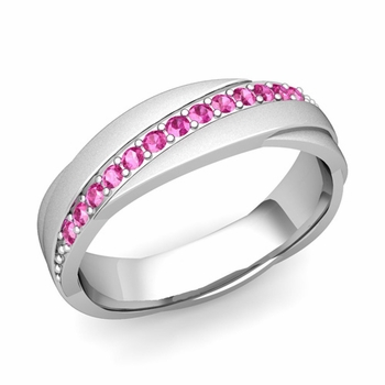 Pink Sapphire Wedding Ring in 14k Gold Satin Rolling Wedding Band, 6mm