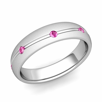 Pink Sapphire Wedding Ring in 14k Gold Satin Wave Wedding Band, 5mm