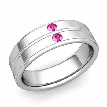 Pink Sapphire Wedding Ring in 14k Gold Shiny Flat Wedding Band, 6.5mm