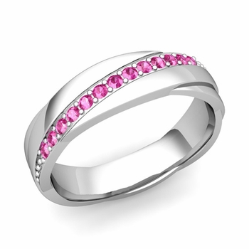 Pink Sapphire Wedding Ring in 14k Gold Shiny Rolling Wedding Band, 6mm
